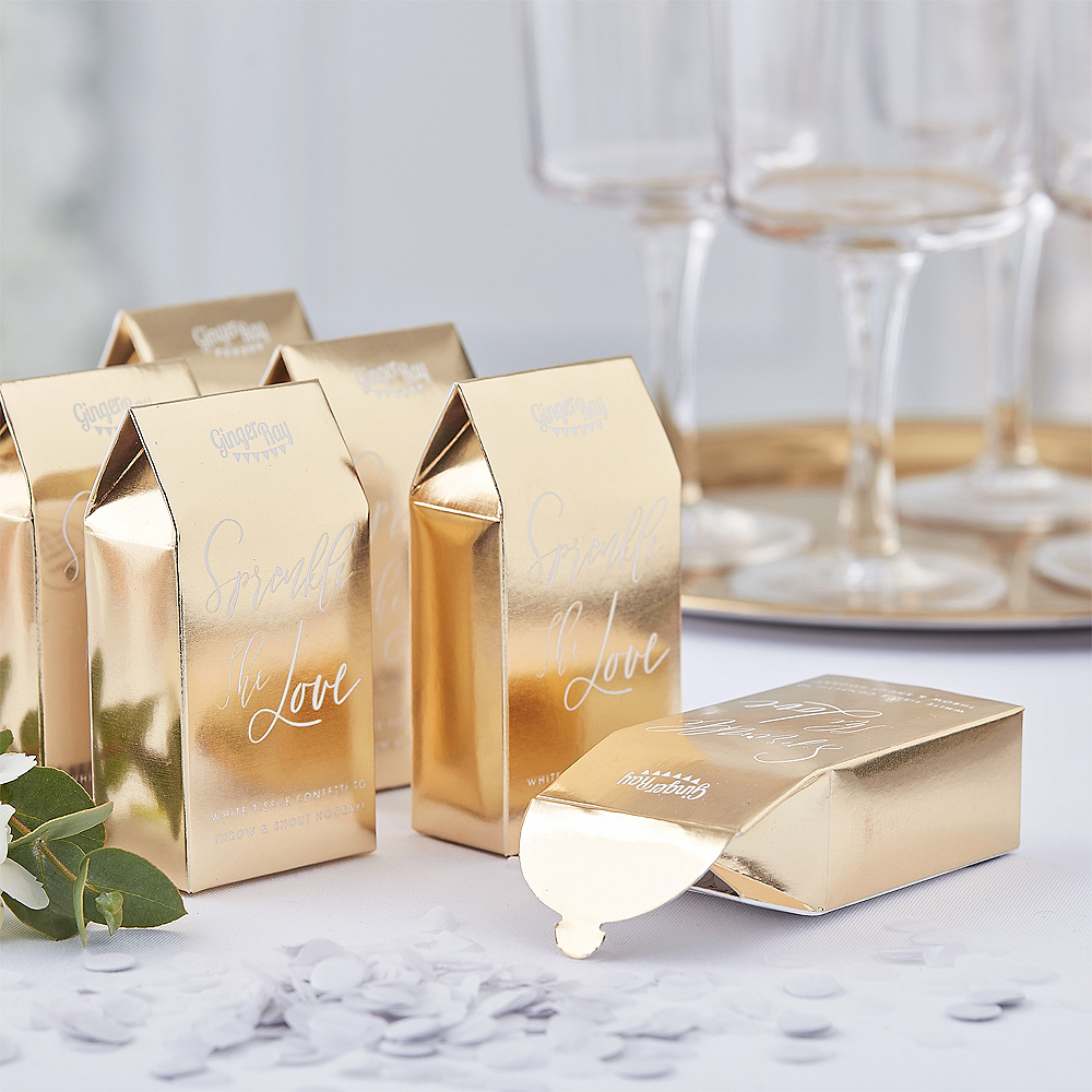 Ginger Ray Metallic Gold Confetti Boxes 20ct Image #1