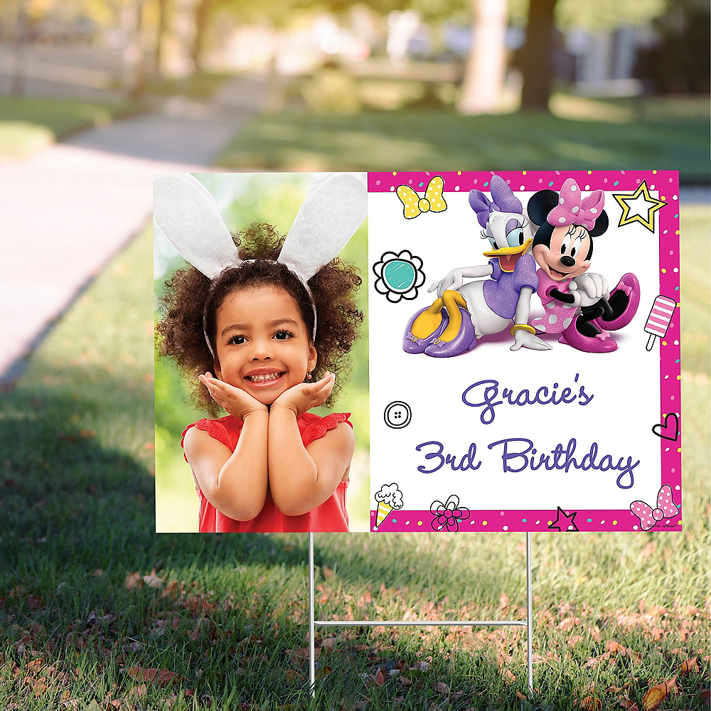 Custom Minnie Mouse's Helpers Photo Yard Sign Image #1