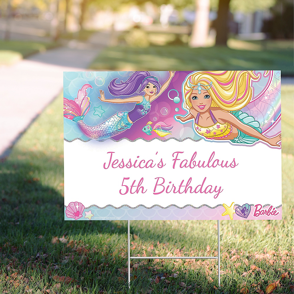 Custom Barbie Mermaid Yard Sign Image #1