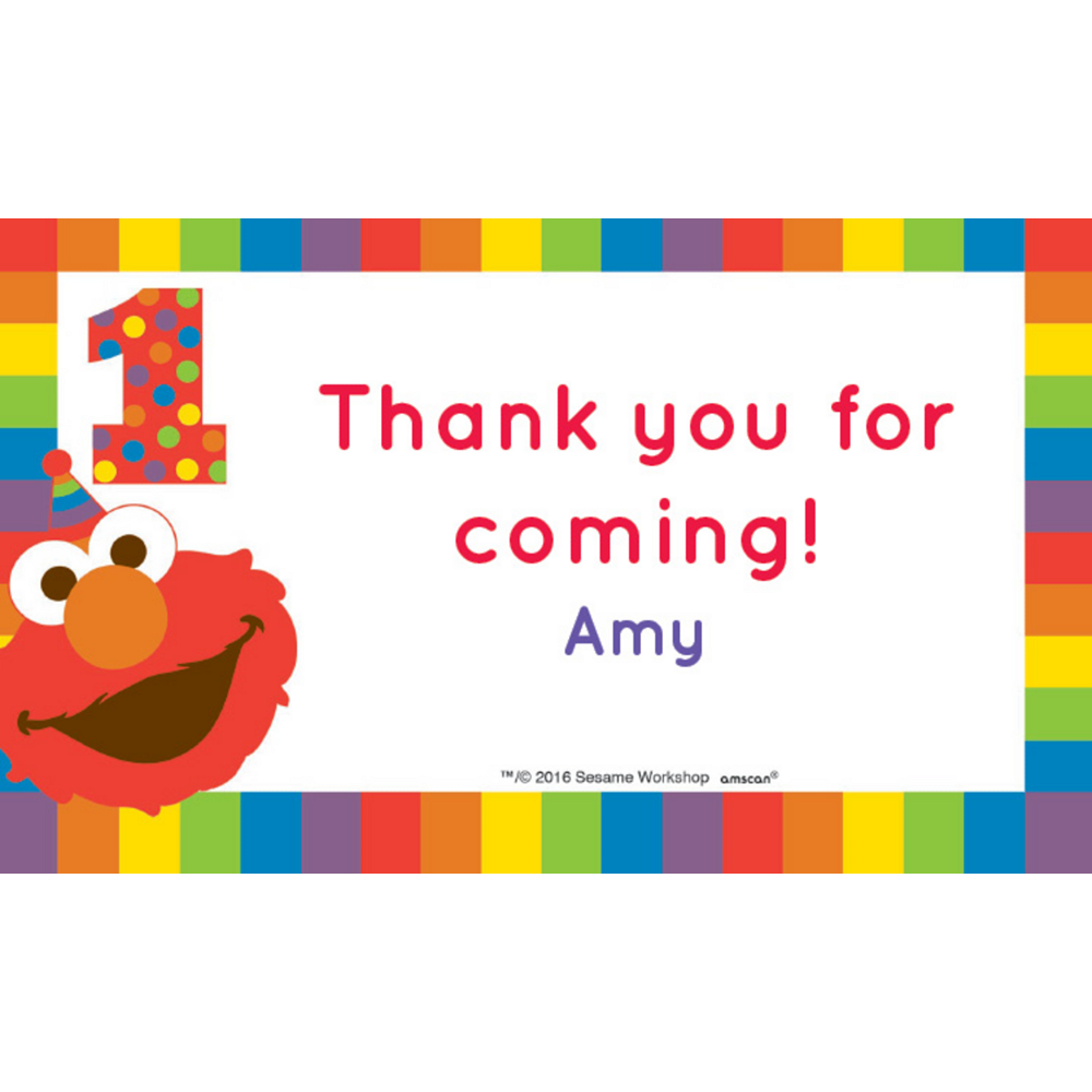 Custom Elmo 1st Birthday Thank You Notes Image #1