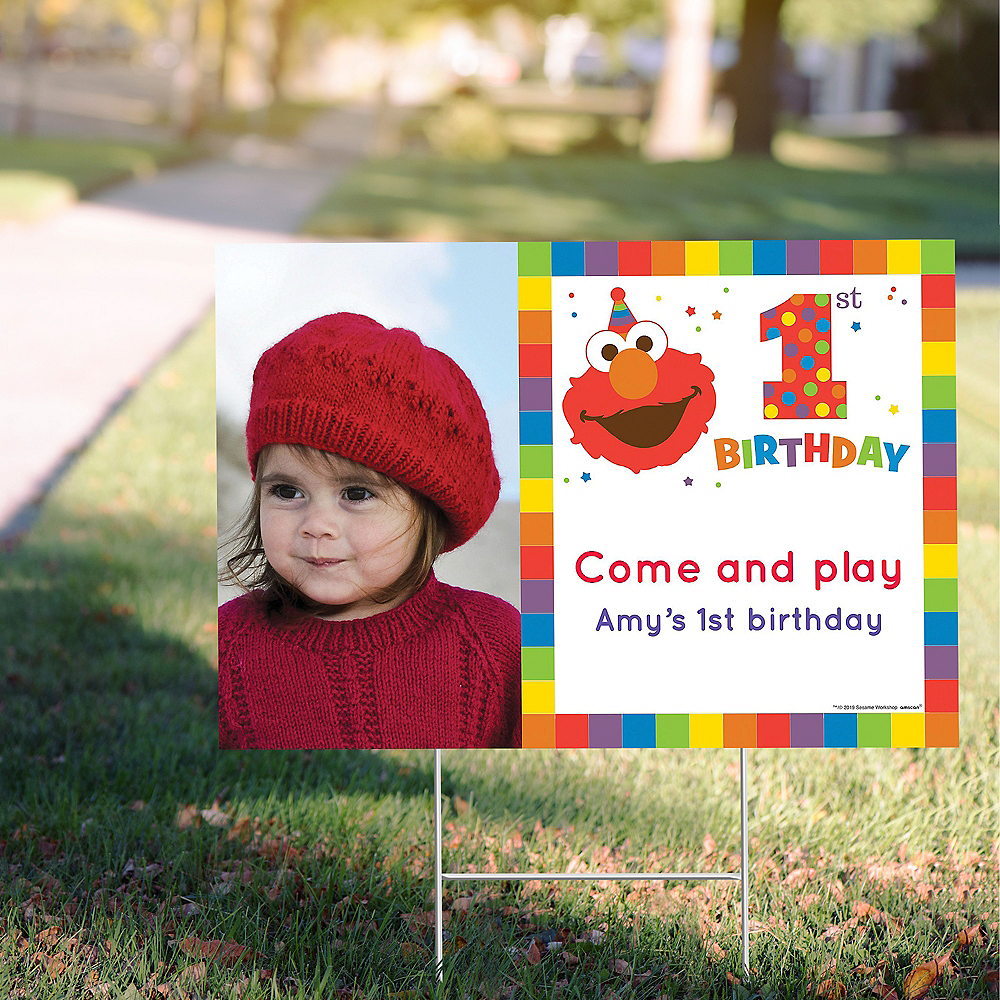 Custom Elmo 1st Birthday Photo Yard Sign Image #1