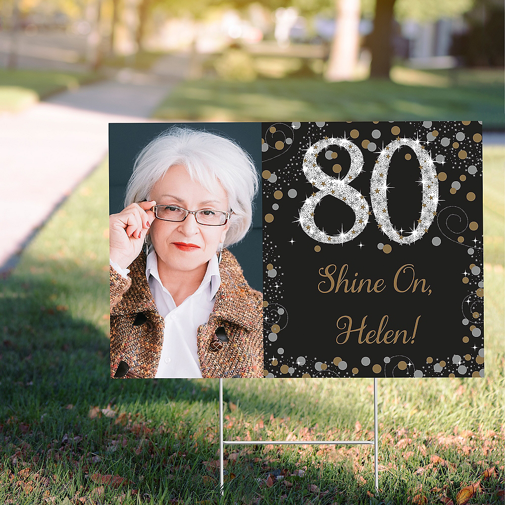 Custom Sparkling Celebration 80 Photo Yard Sign Image #1