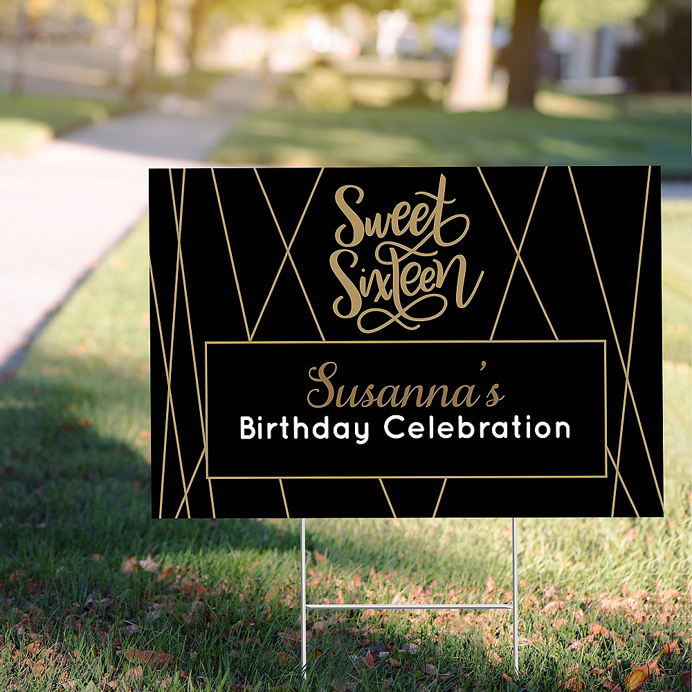 Custom Elegant Sweet 16 Yard Sign Image #1