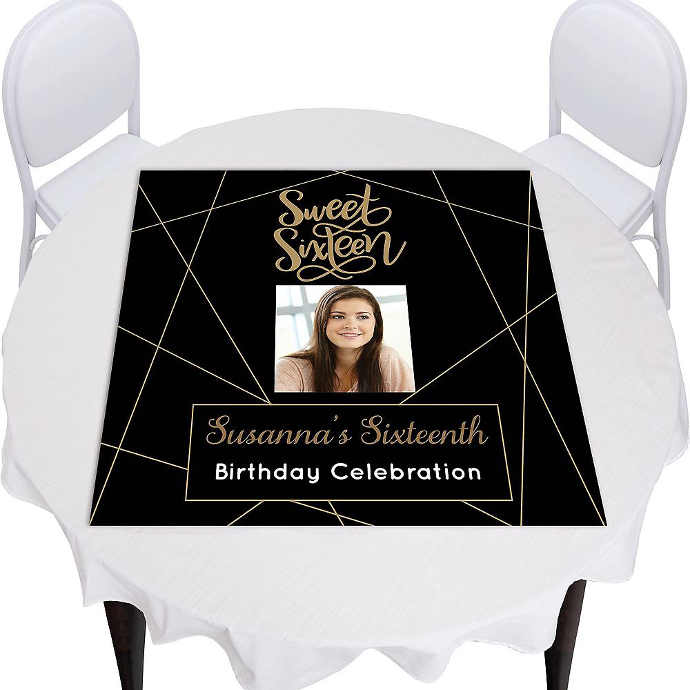 Custom Elegant Sweet 16 Photo Square Table Topper Image #1