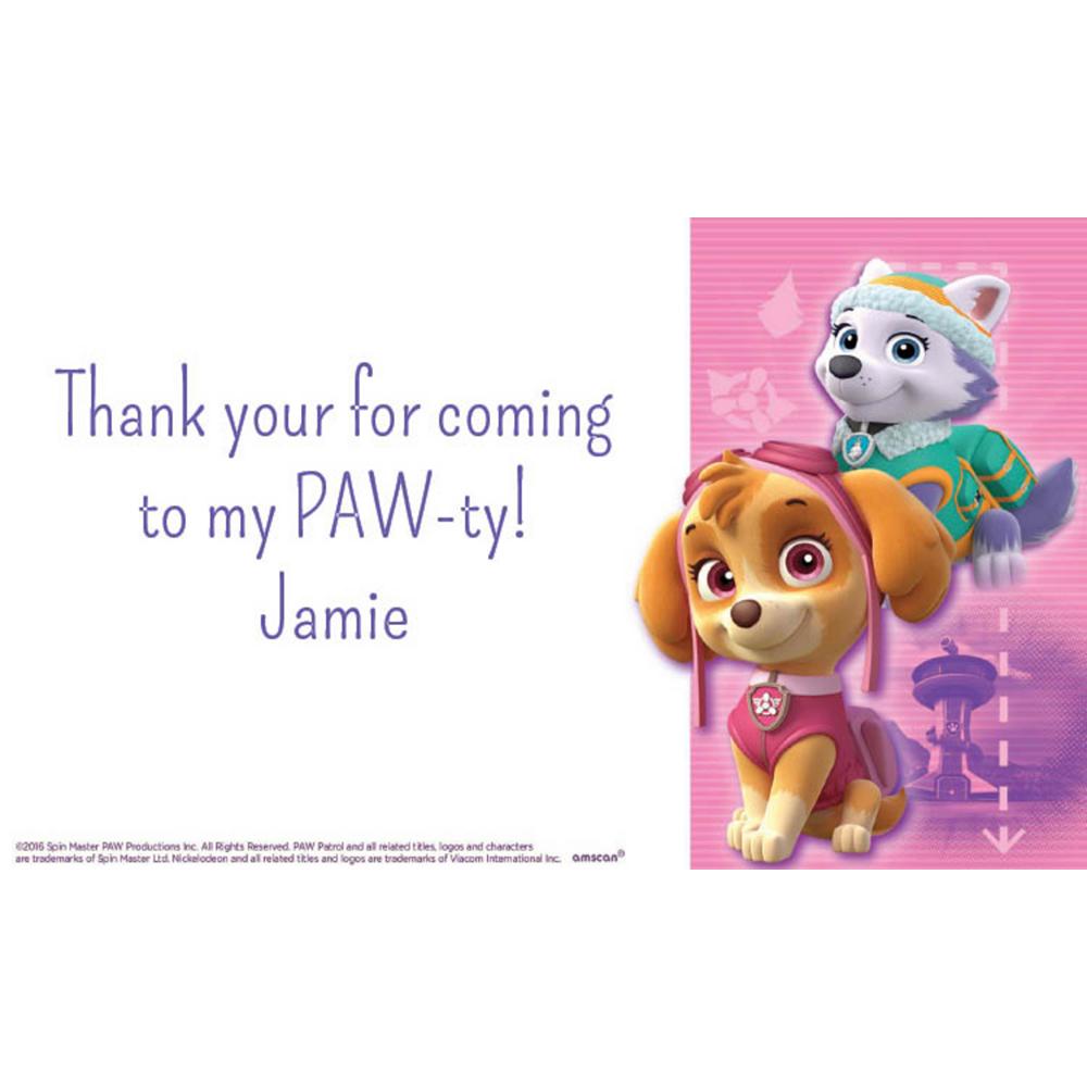 Custom Pink PAW Patrol Thank You Note Image #1