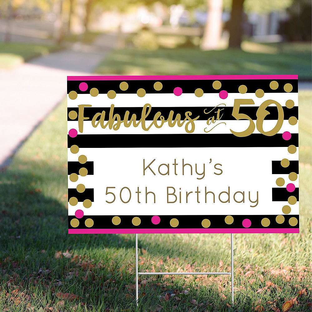 Custom Pink & Gold Confetti 50 Yard Sign Image #1