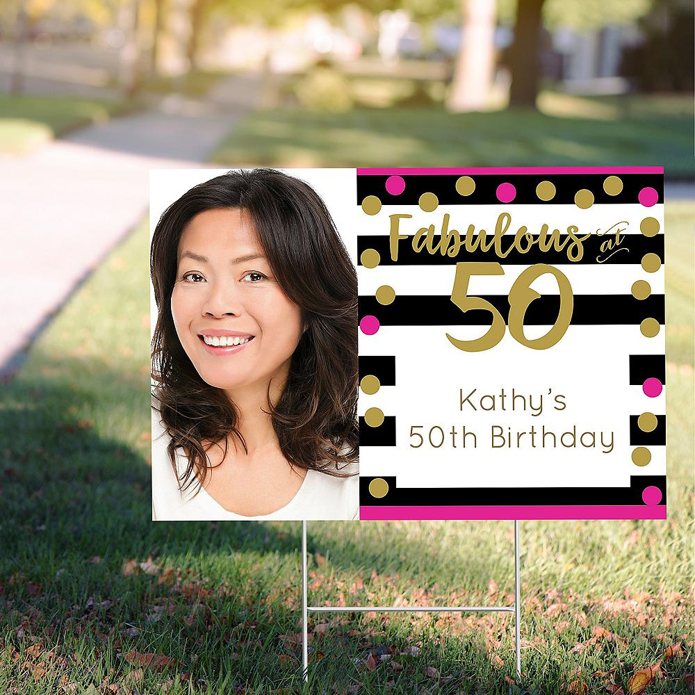Custom Pink & Gold Confetti 50 Photo Yard Sign Image #1