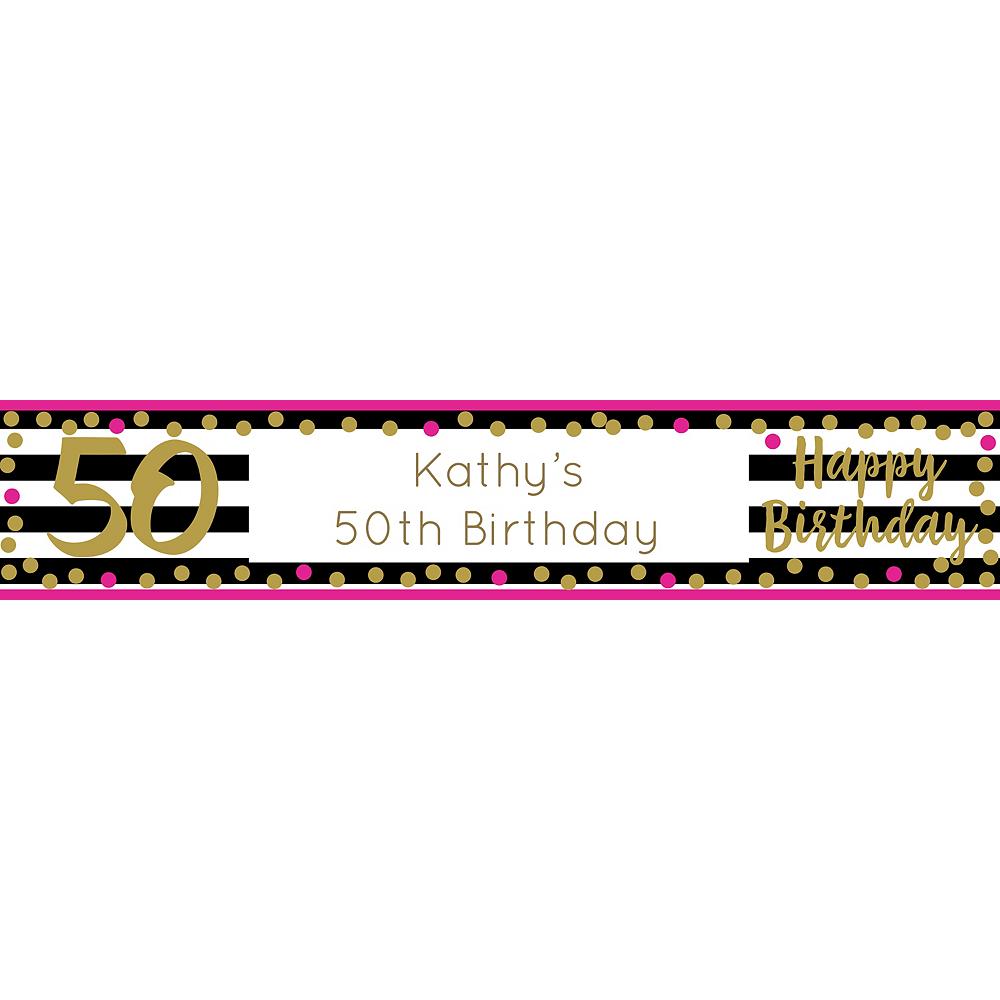 Custom Pink & Gold Confetti 50 Table Runner Image #1