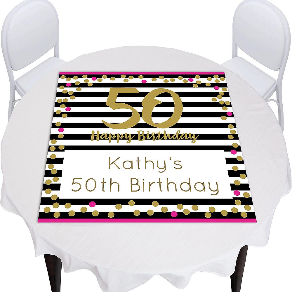 Custom Pink & Gold Confetti 50 Square Table Topper Image #1