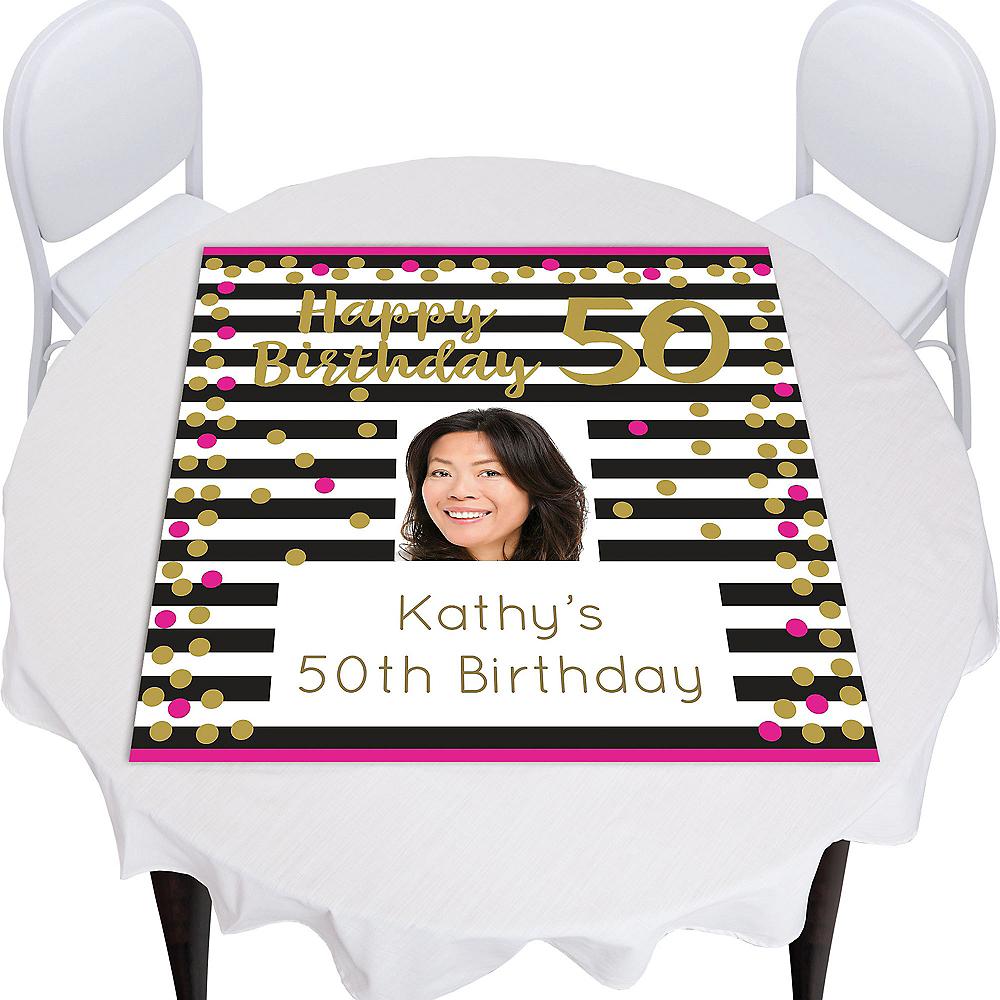 Custom Pink & Gold Confetti 50 Photo Square Table Topper Image #1