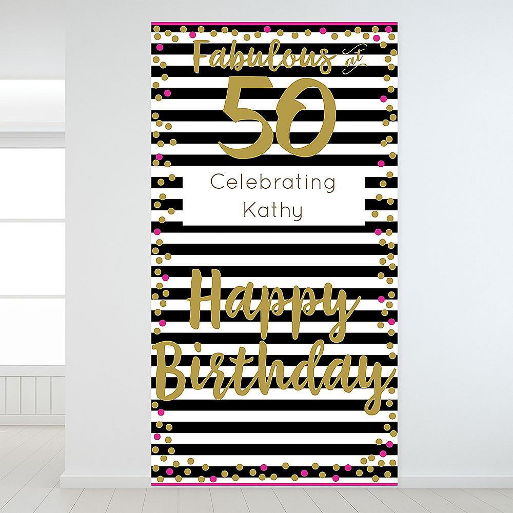 Custom Pink & Gold Confetti 50 Backdrop Image #1