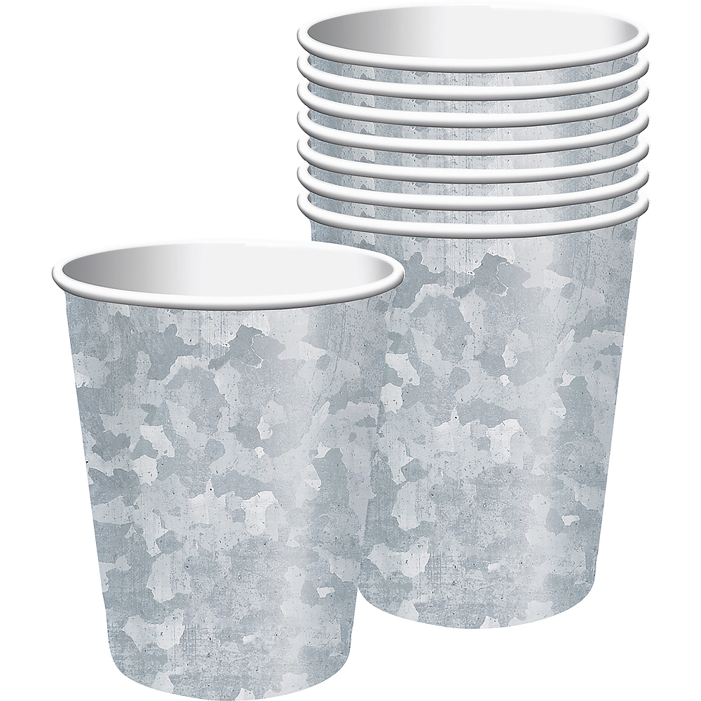 Galvanized Paper Cups 8ct Image #1