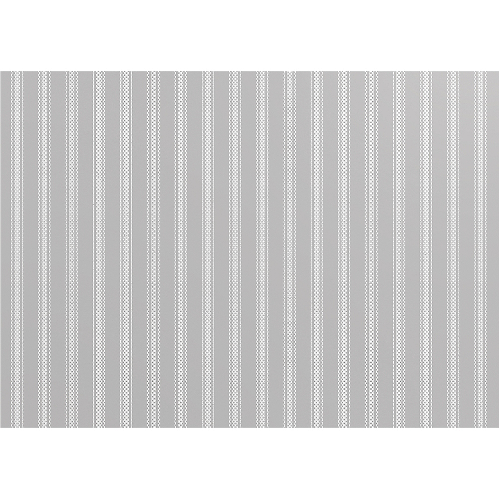 Gray Ticking Striped Paper Placemats 24ct Image #1