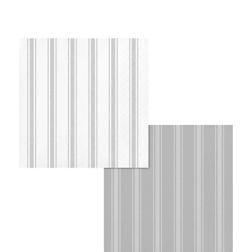 Gray Ticking Striped Reversible Beverage Napkins 16ct Image #1