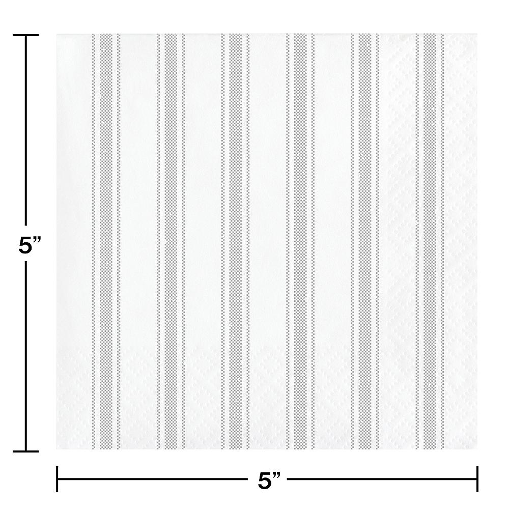 Gray Ticking Striped Reversible Beverage Napkins 16ct Image #2