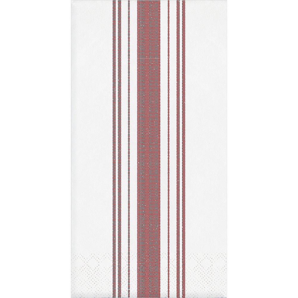Red Ticking Striped Side-Fold Dinner Napkins 16ct Image #1
