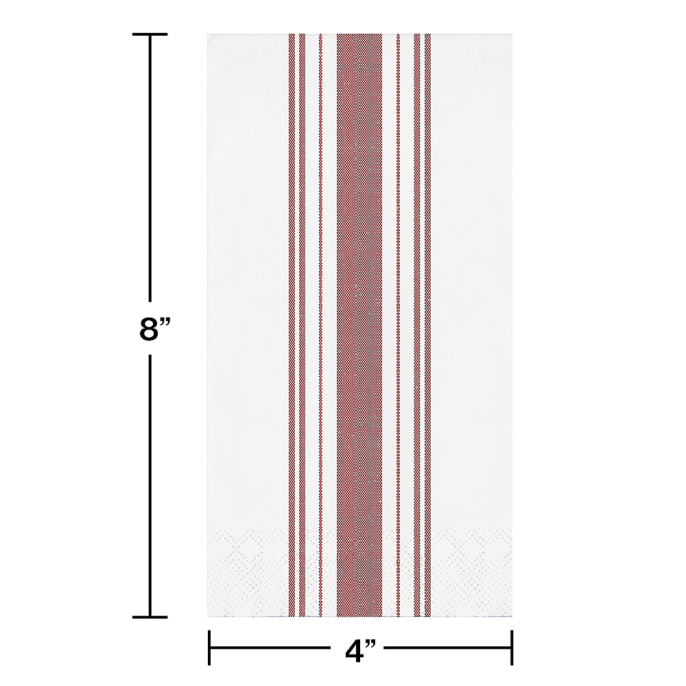Red Ticking Striped Side-Fold Dinner Napkins 16ct Image #2