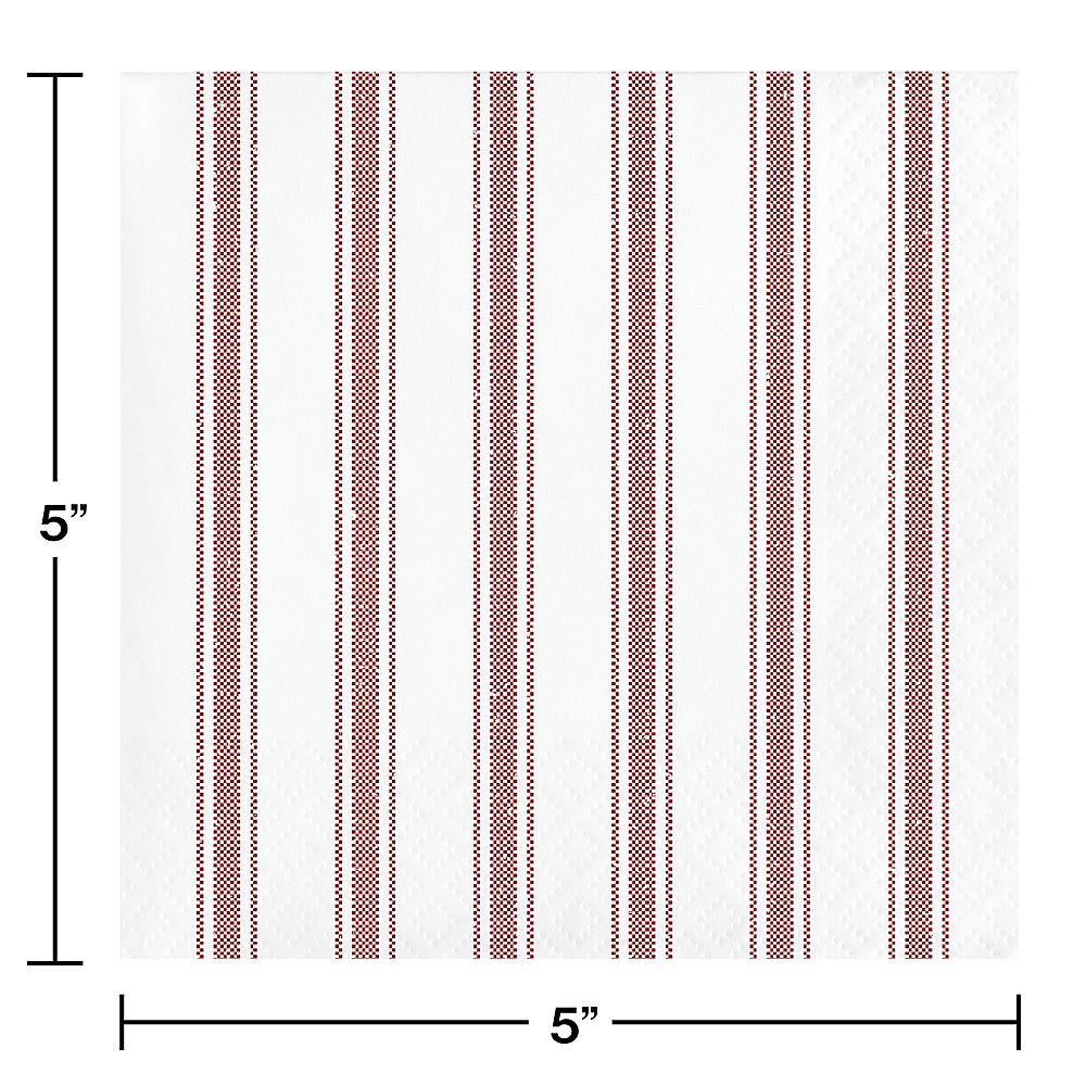 Red Ticking Striped Beverage Napkins 16ct Image #2
