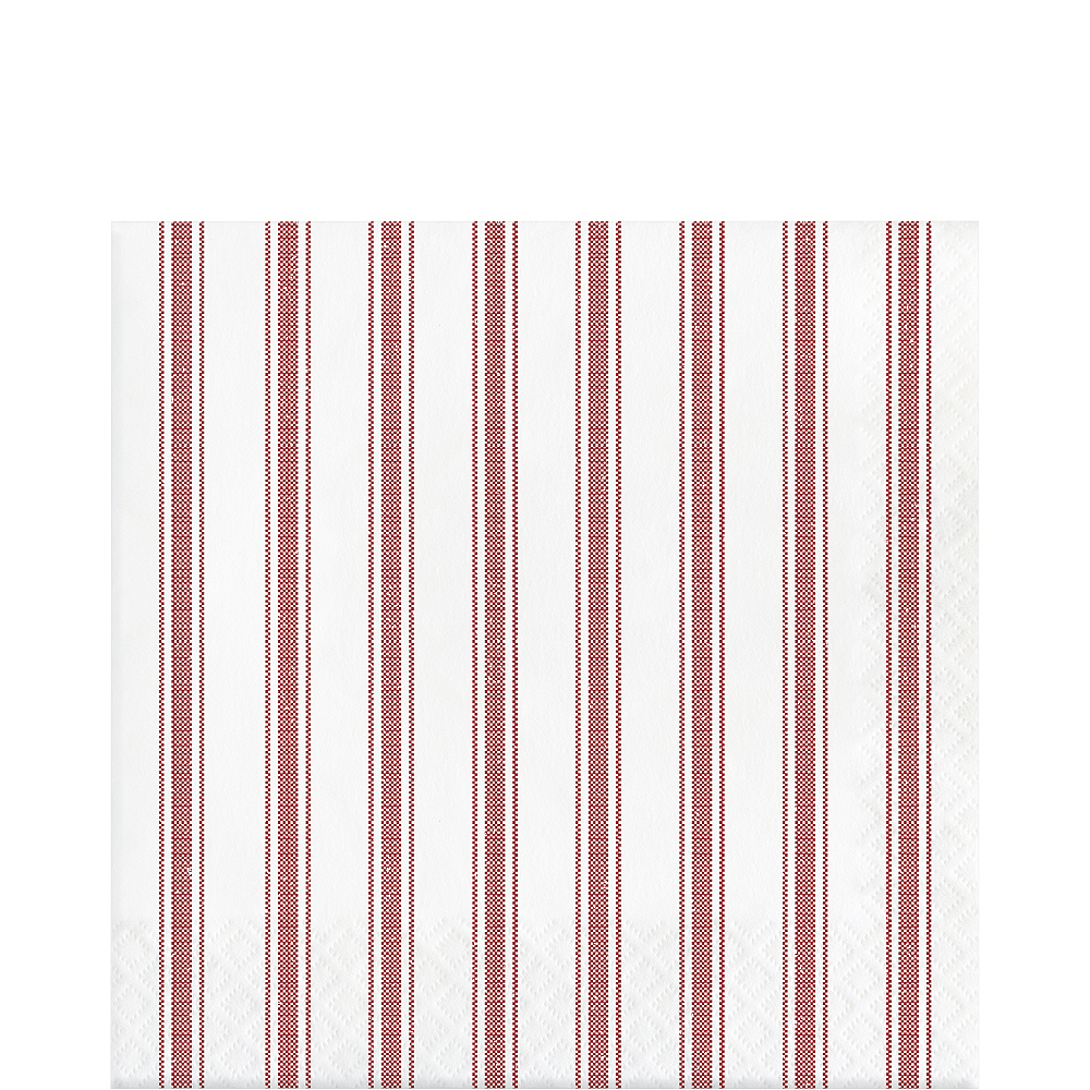 Red Ticking Striped Lunch Napkins 16ct Image #1