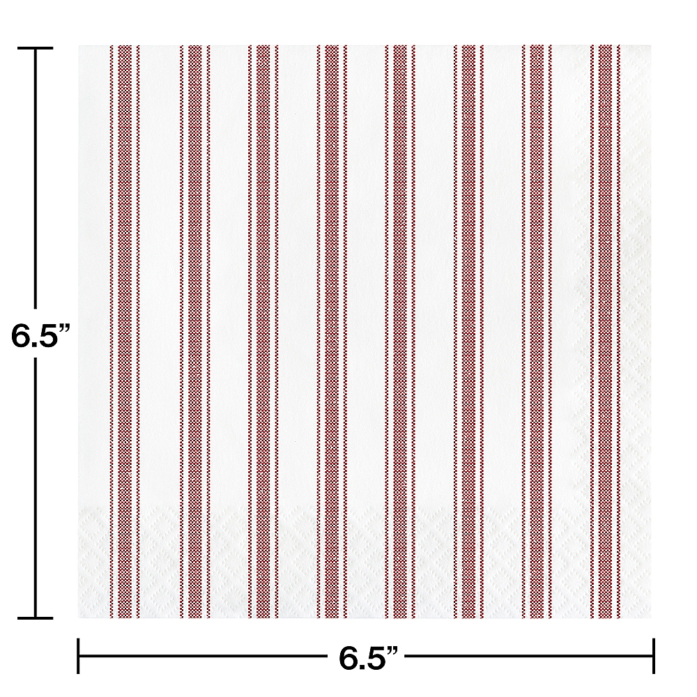 Red Ticking Striped Lunch Napkins 16ct Image #2