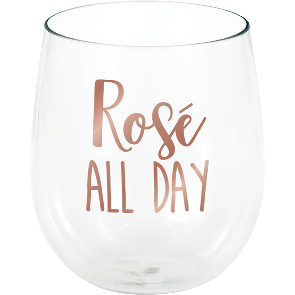 Rosé All Day Plastic Stemless Wine Glass Image #1