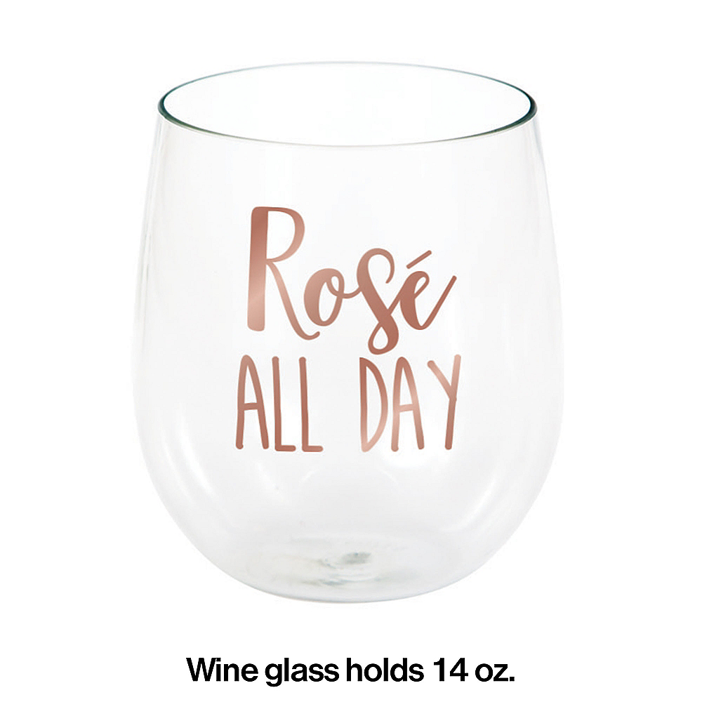 Rosé All Day Plastic Stemless Wine Glass Image #2
