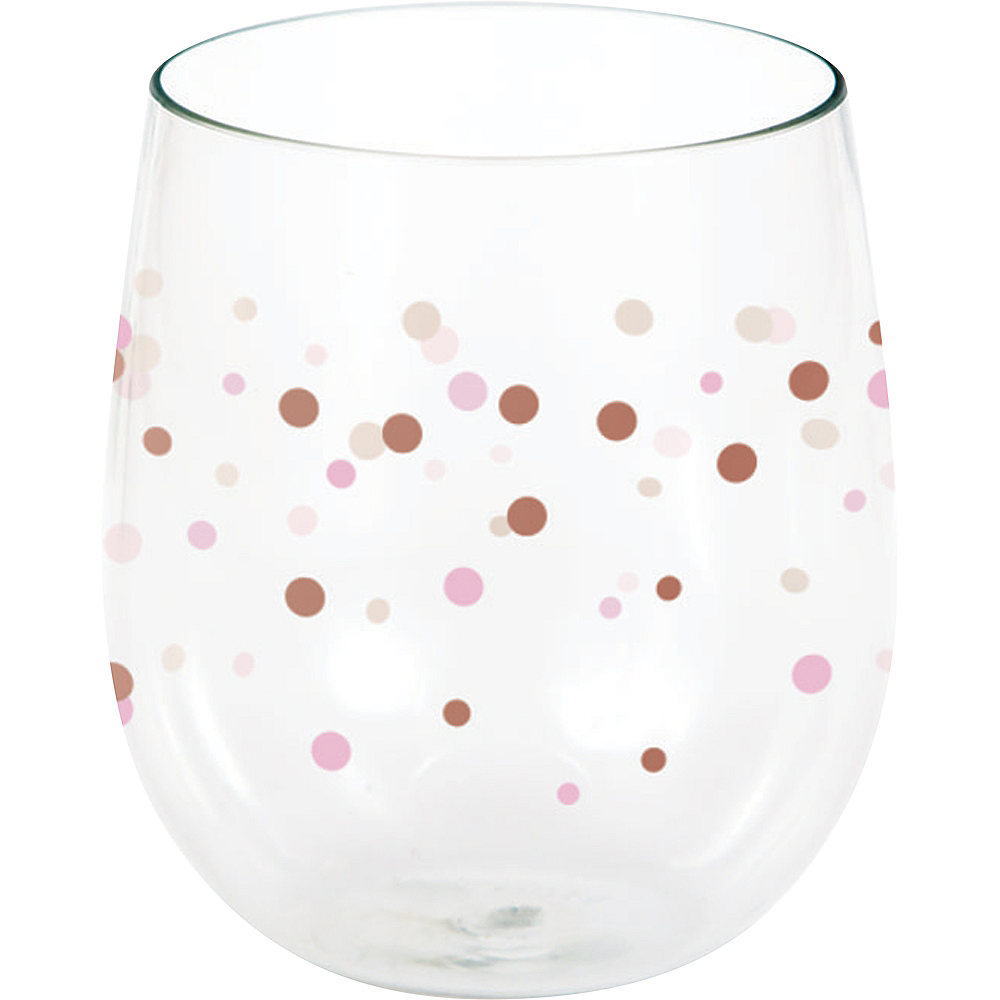 Rosé All Day Dots Plastic Stemless Wine Glass Image #1