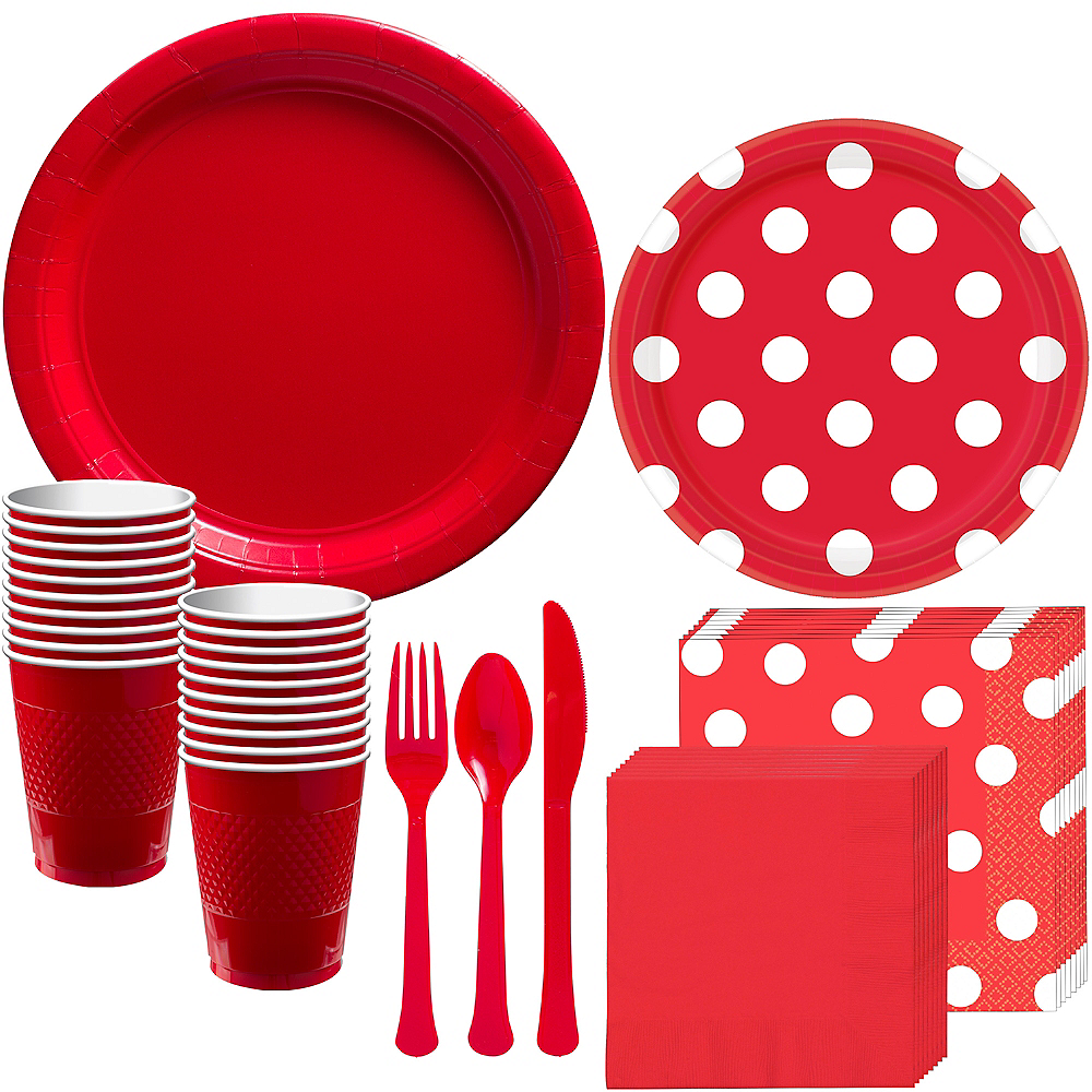 Nav Item for Red Polka Dot Tableware Kit for 16 Guests Image #1