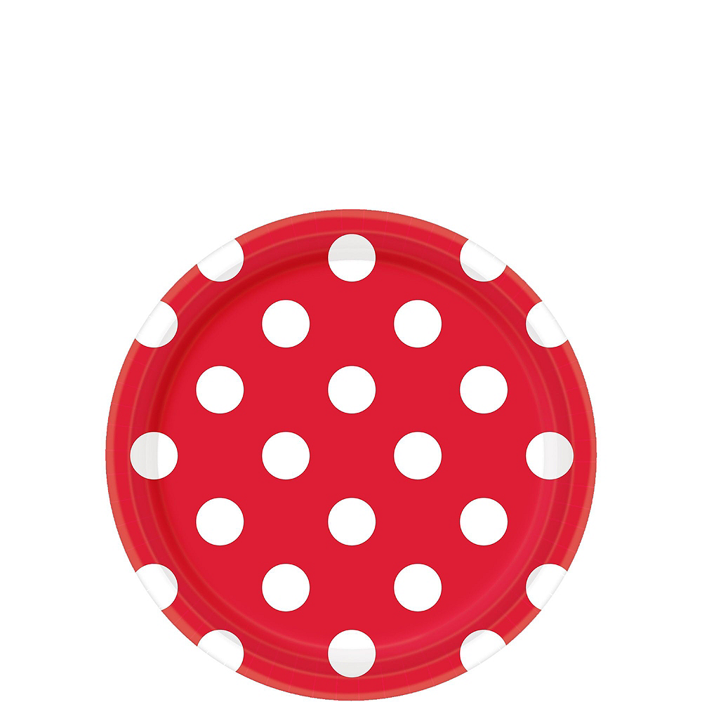 Nav Item for Red Polka Dot Tableware Kit for 16 Guests Image #2