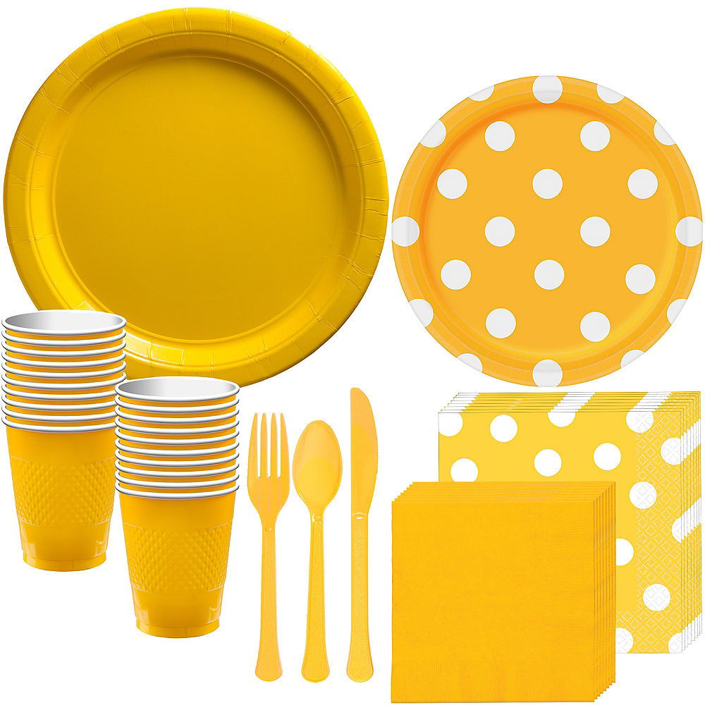 Yellow Polka Dot Tableware Kit for 16 Guests Image #1