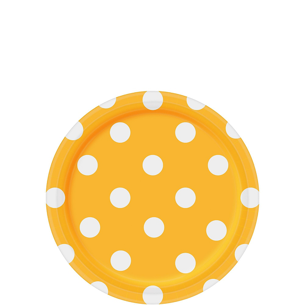 Yellow Polka Dot Tableware Kit for 16 Guests Image #2