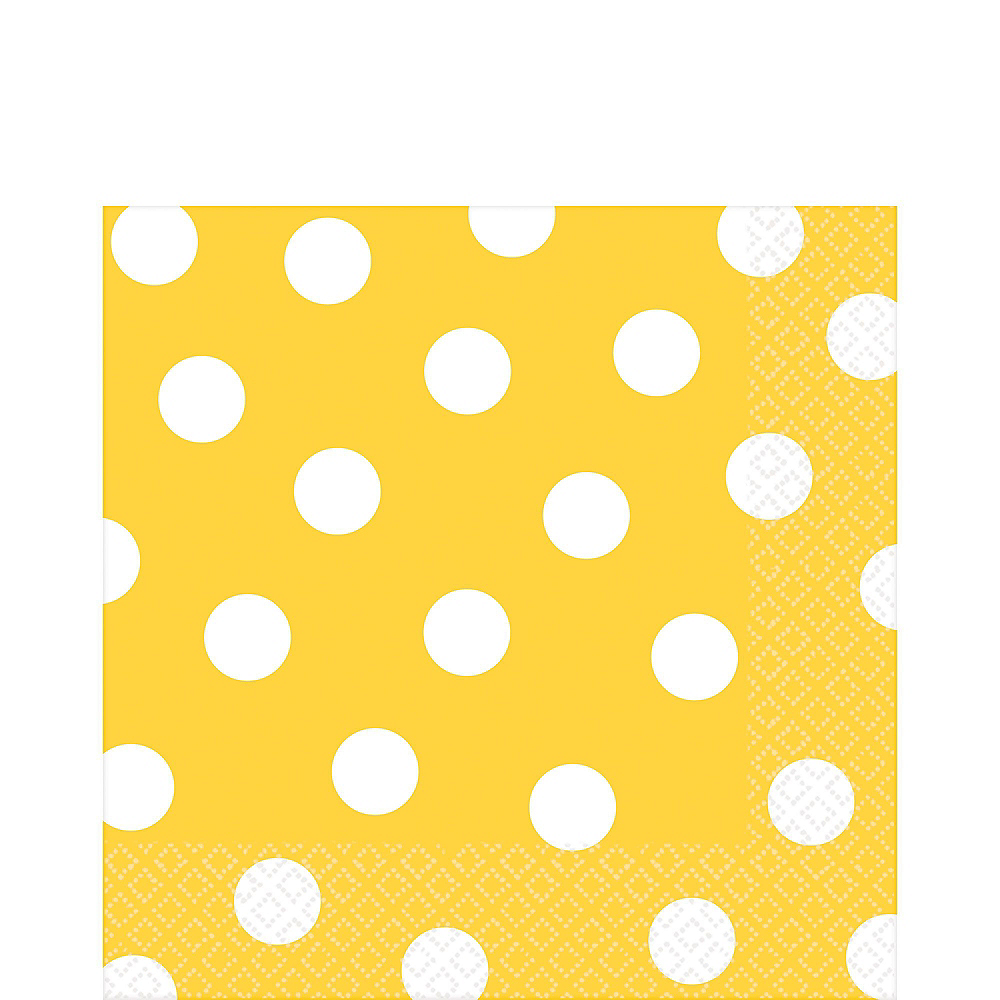Yellow Polka Dot Tableware Kit for 16 Guests Image #5