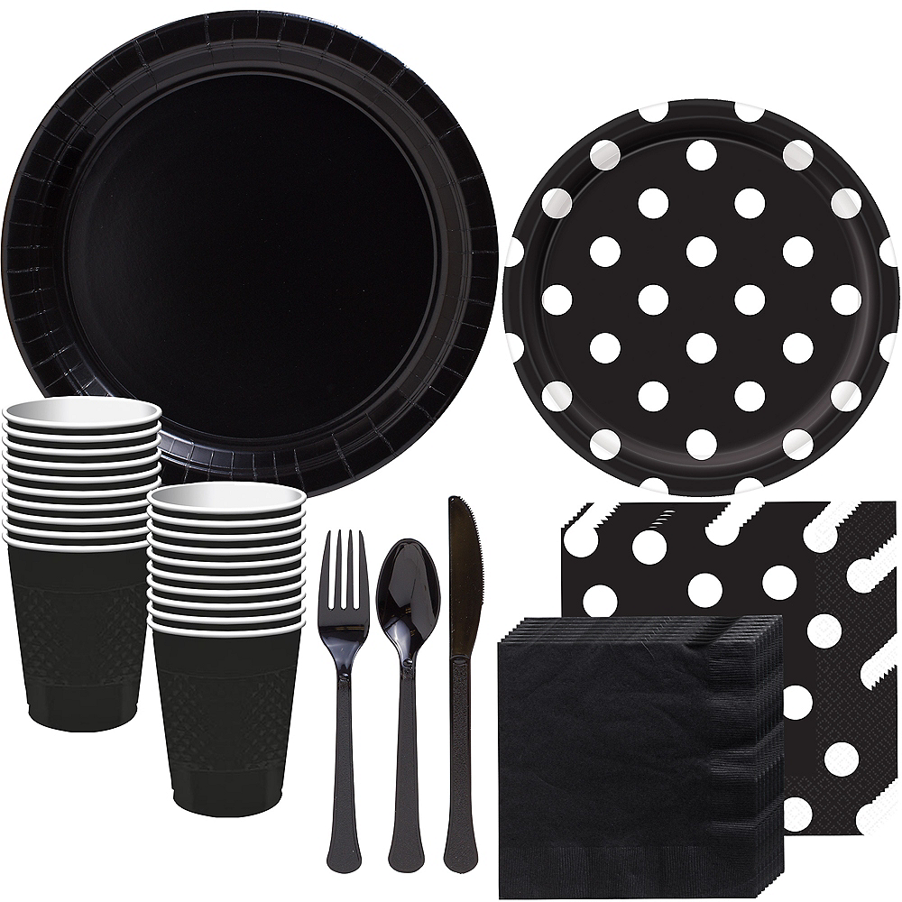 Black Polka Dot Tableware Kit for 16 Guests Image #1