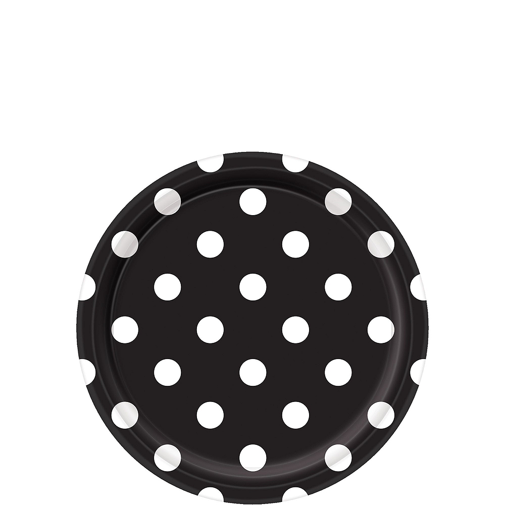 Black Polka Dot Tableware Kit for 16 Guests Image #2