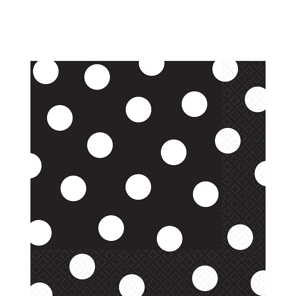 Black Polka Dot Tableware Kit for 16 Guests Image #5