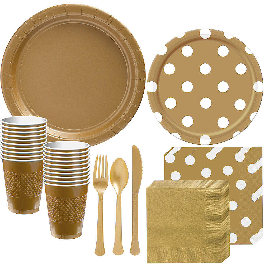 Gold Polka Dot Tableware Kit for 16 Guests Image #1