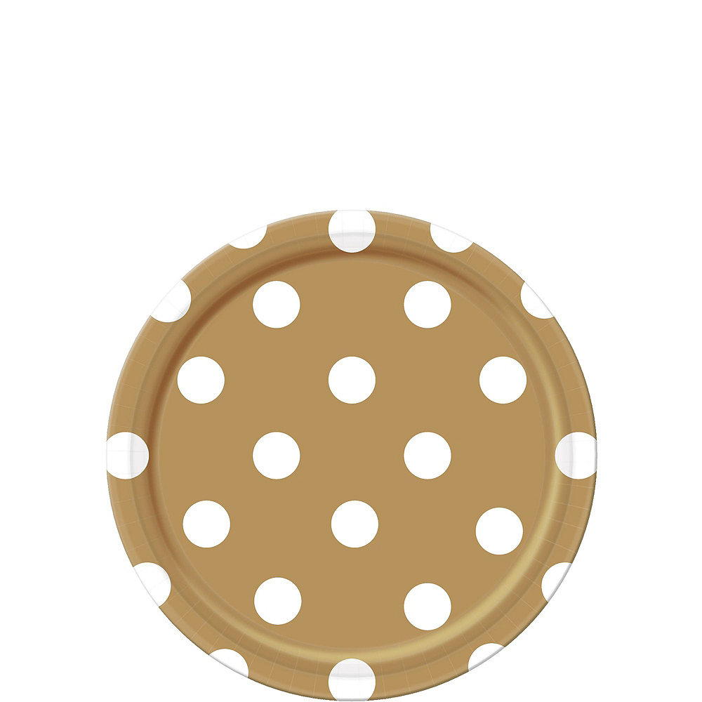 Gold Polka Dot Tableware Kit for 16 Guests Image #2