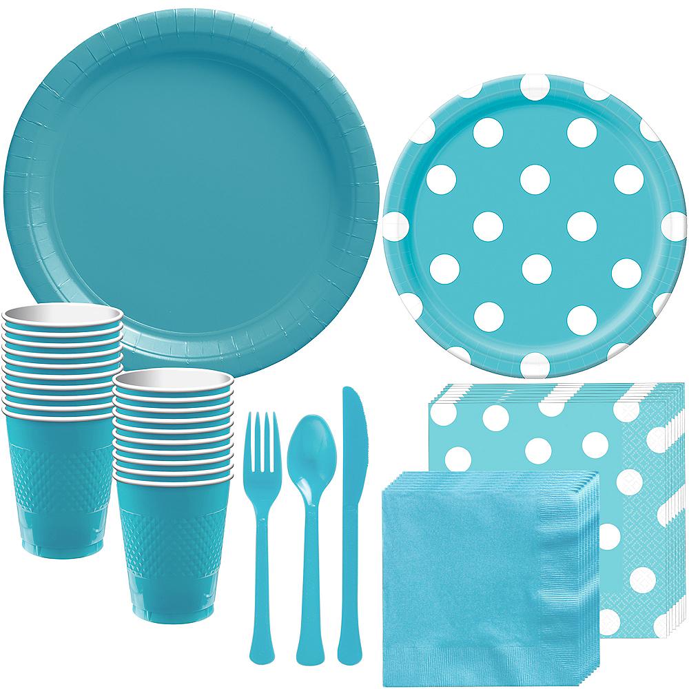 Caribbean Blue Polka Dot Tableware Kit for 16 Guests Image #1