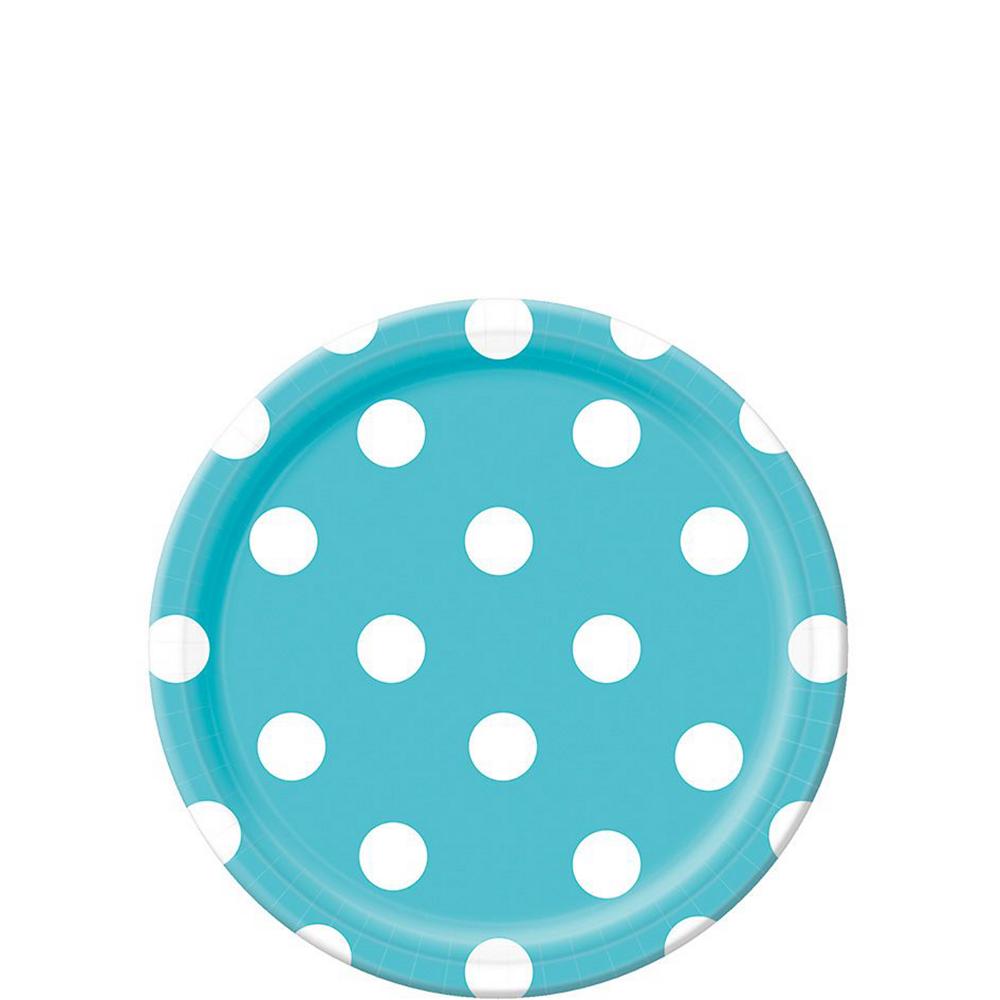 Caribbean Blue Polka Dot Tableware Kit for 16 Guests Image #2