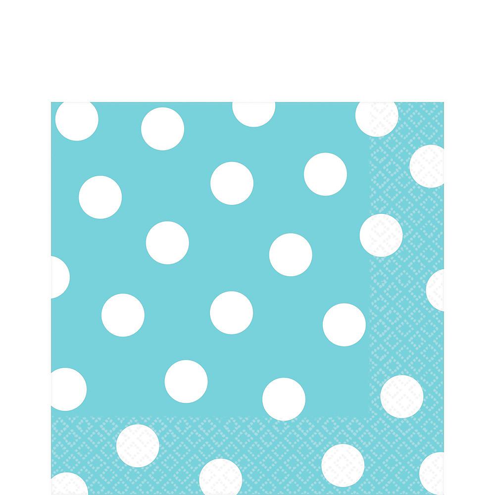 Caribbean Blue Polka Dot Tableware Kit for 16 Guests Image #5
