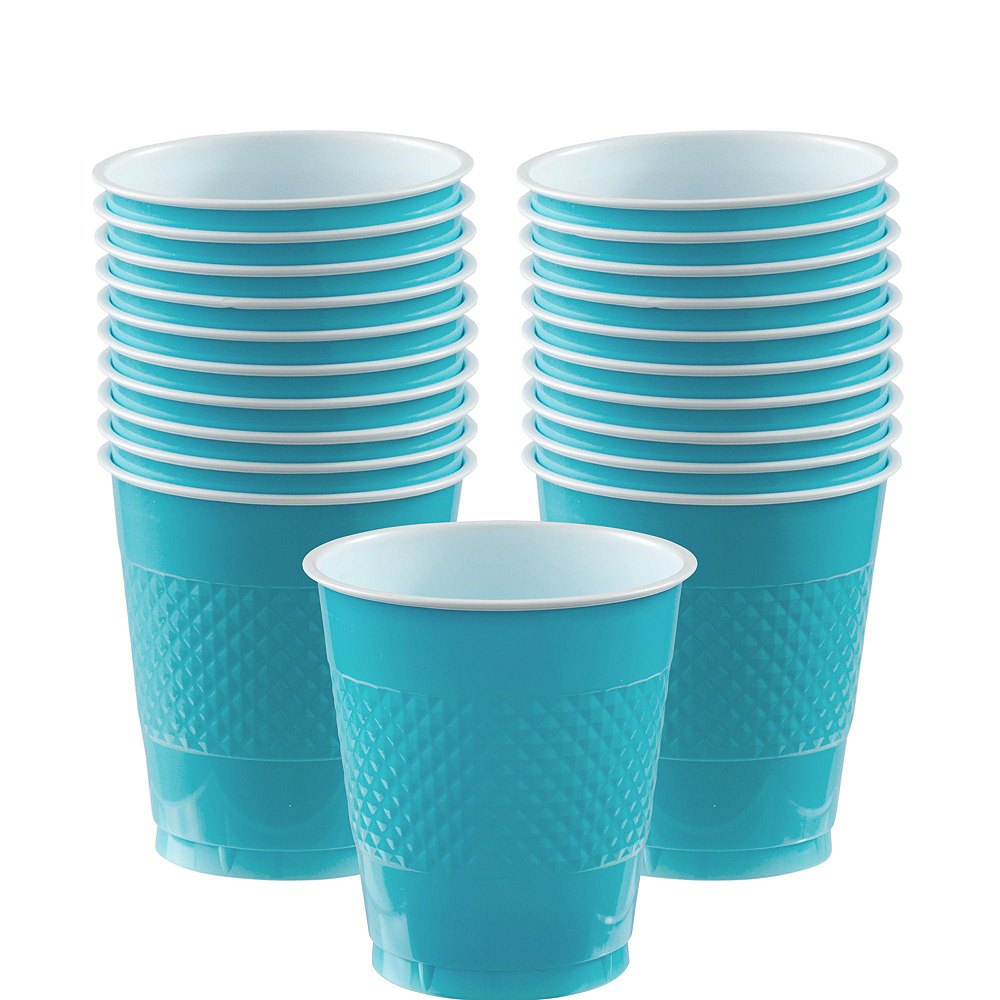 Caribbean Blue Polka Dot Tableware Kit for 16 Guests Image #6