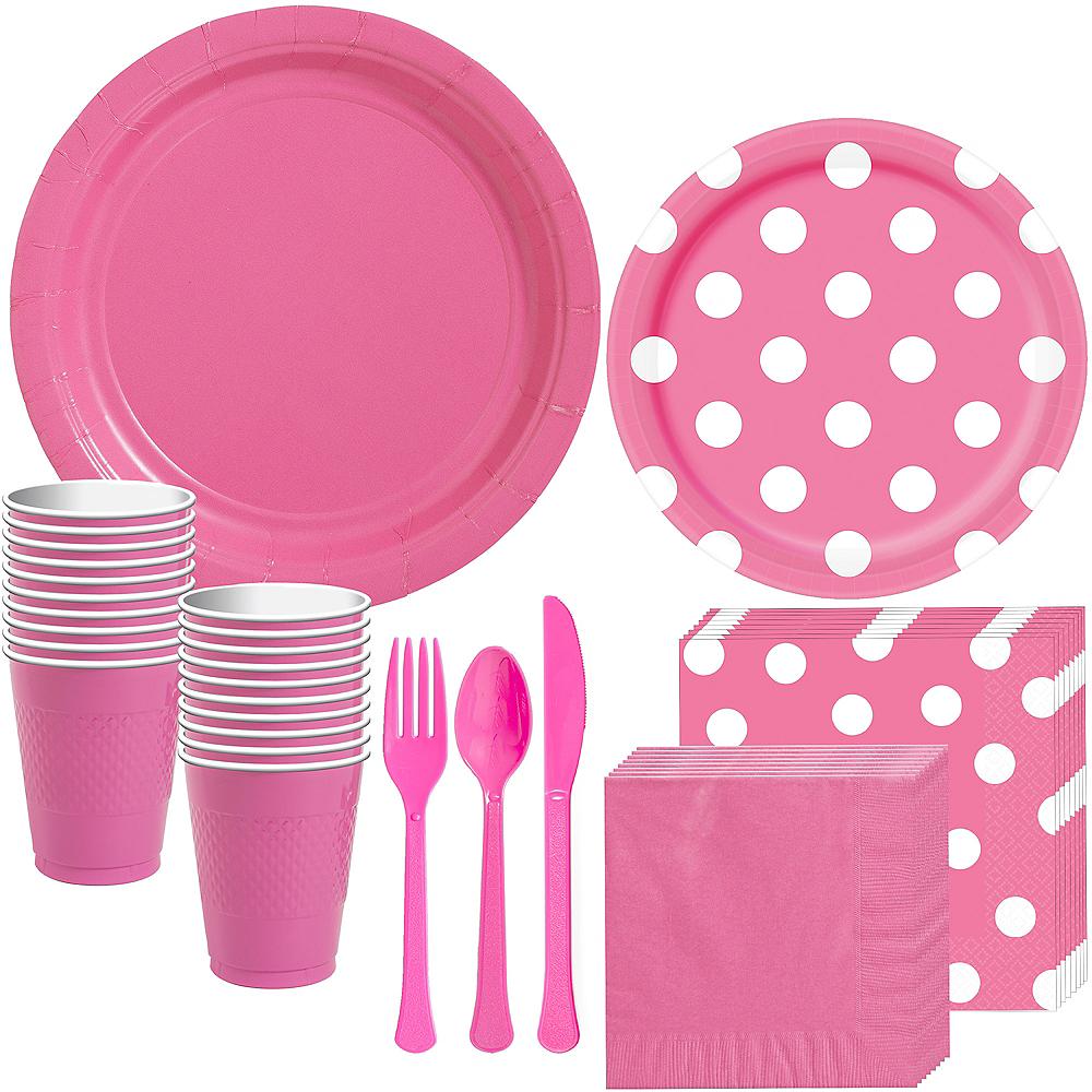 Bright Pink Polka Dot Tableware Kit for 16 Guests Image #1