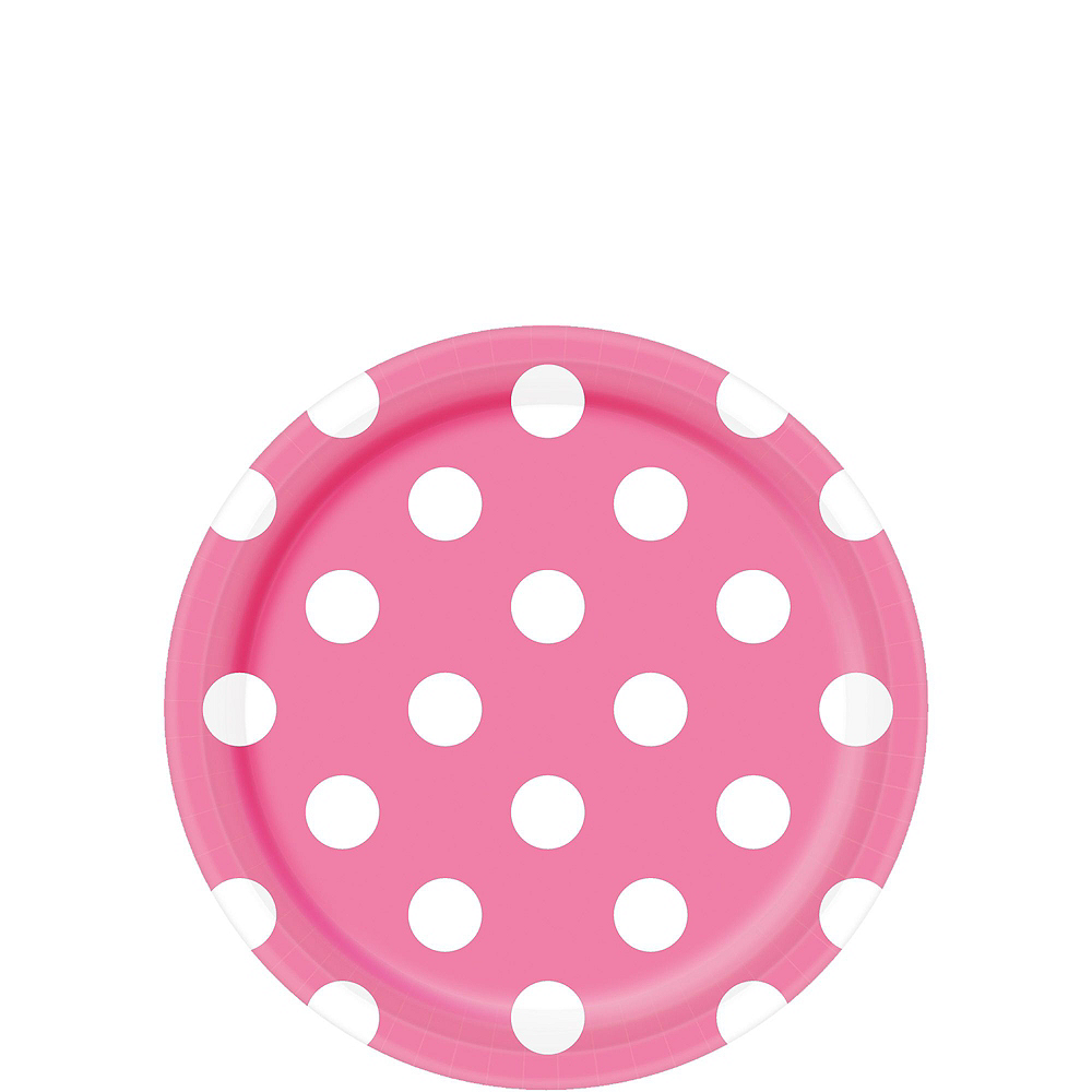 Bright Pink Polka Dot Tableware Kit for 16 Guests Image #2
