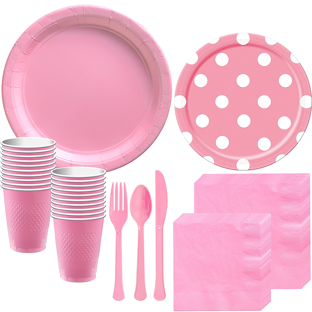 Pink Polka Dot Tableware Kit for 16 Guests Image #1