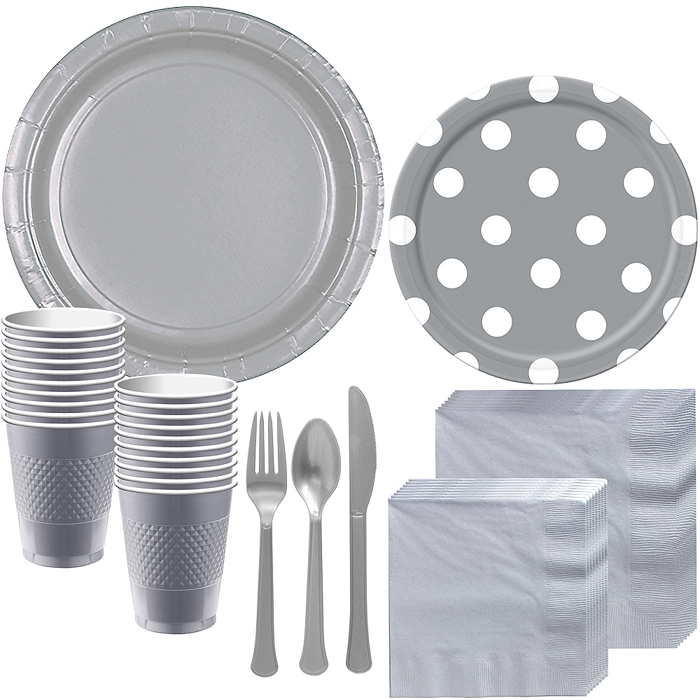 Silver Polka Dot Tableware Kit for 16 Guests Image #1