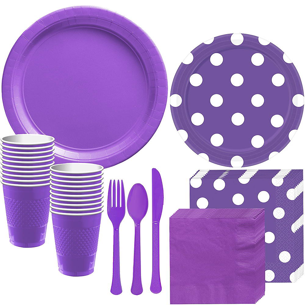 Purple Polka Dot Tableware Kit for 16 Guests Image #1