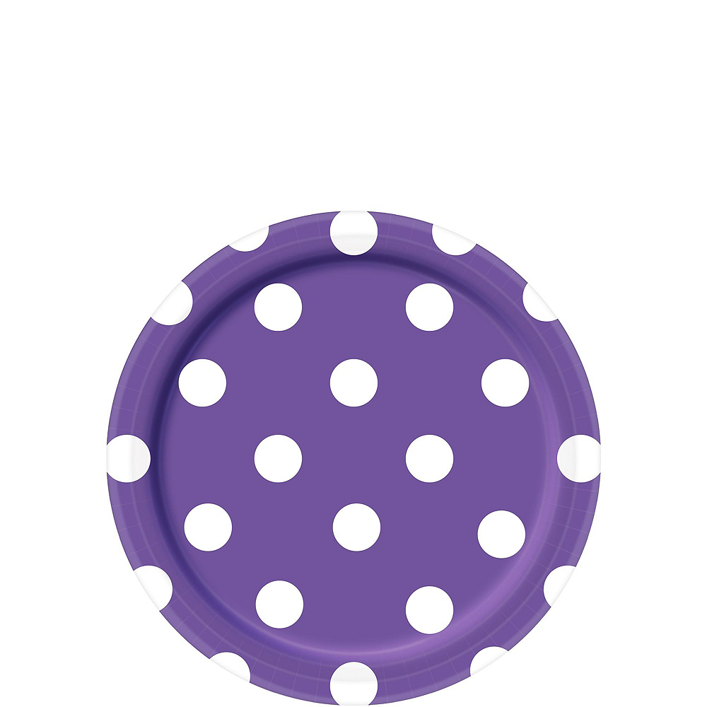 Purple Polka Dot Tableware Kit for 16 Guests Image #2