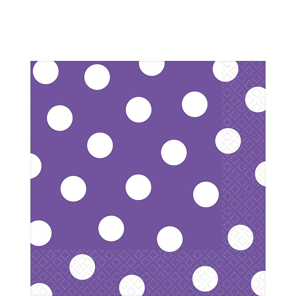 Purple Polka Dot Tableware Kit for 16 Guests Image #4