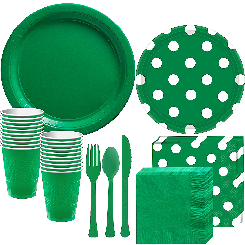 Festive Green Polka Dot Tableware Kit for 16 Guests Image #1