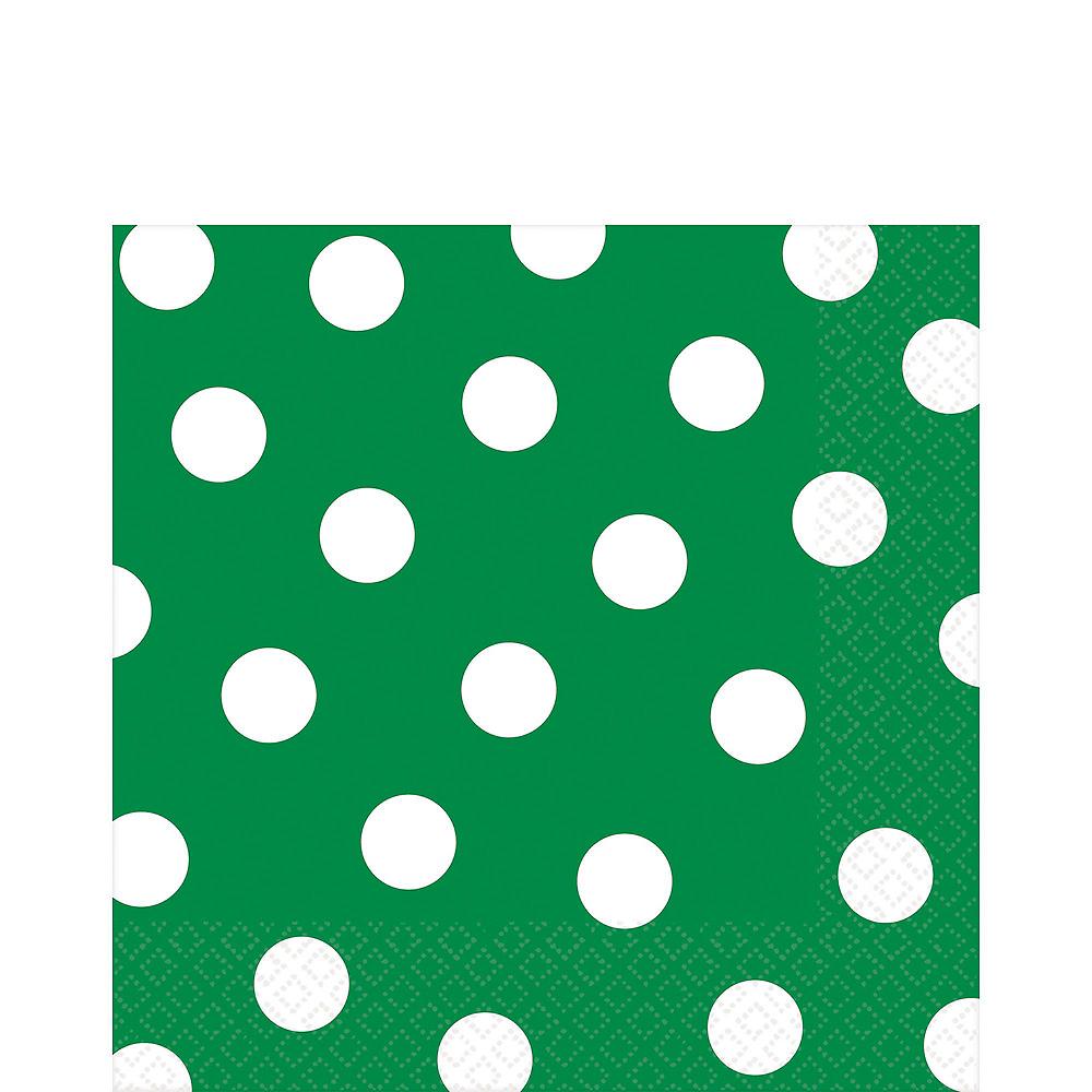 Festive Green Polka Dot Tableware Kit for 16 Guests Image #5